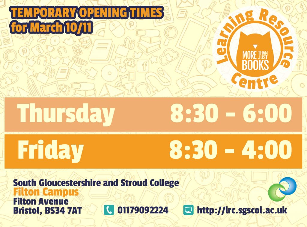 Temporary closing times for Thursday 10/03 and Friday 11/03