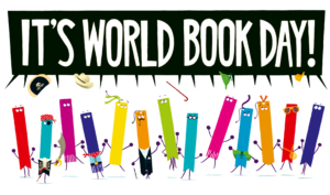 """Official World Book Day 2020 logo. The text reads """"It's World Book Day!"""" in white font over a black speech bubble. The characters ebulliently shouting these words are colourful bookmarks with eyes and various outfits."""
