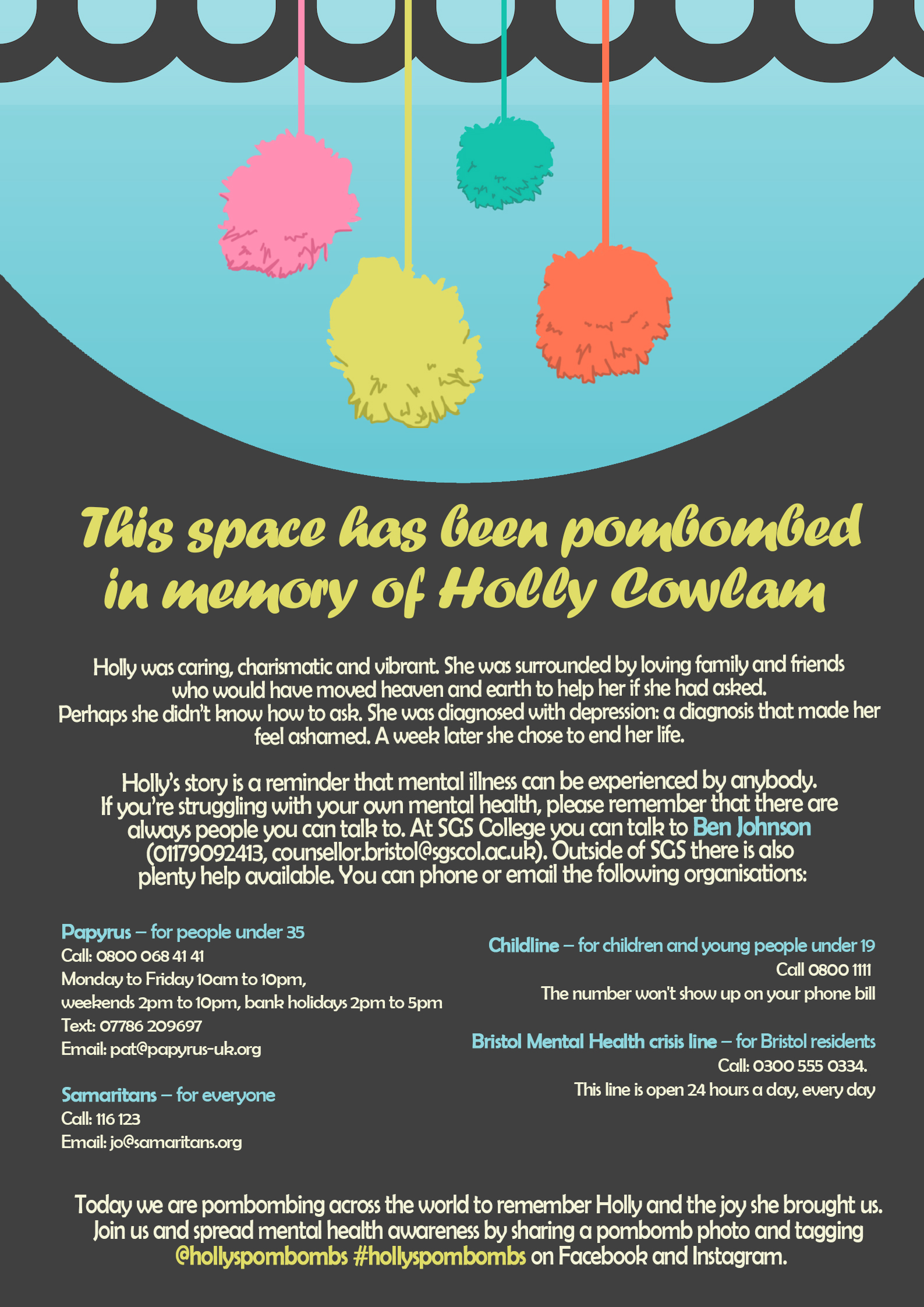 [Image Description: Light blue and navy informational poster about Holly's PomBombs with pink, yellow, green, and orange pompoms. The information contained can be read at the official Holly's PomBombs website, and the contact information on the poster can be read below.]