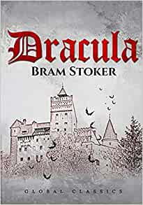 """[Image Description: Book cover for Dracula. """"Dracula"""" in Gothic red font, grey background, sketch of a castle with bats in front.]"""