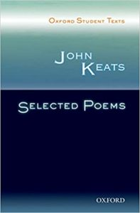 [Image Description: Book cover for Selected Poems of John Keats. White text on a turquoise and navy background.]