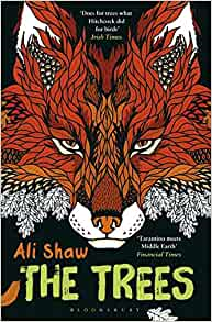 [Image Description: Book cover for The Trees. Red and orange geometric fox on a black background.]
