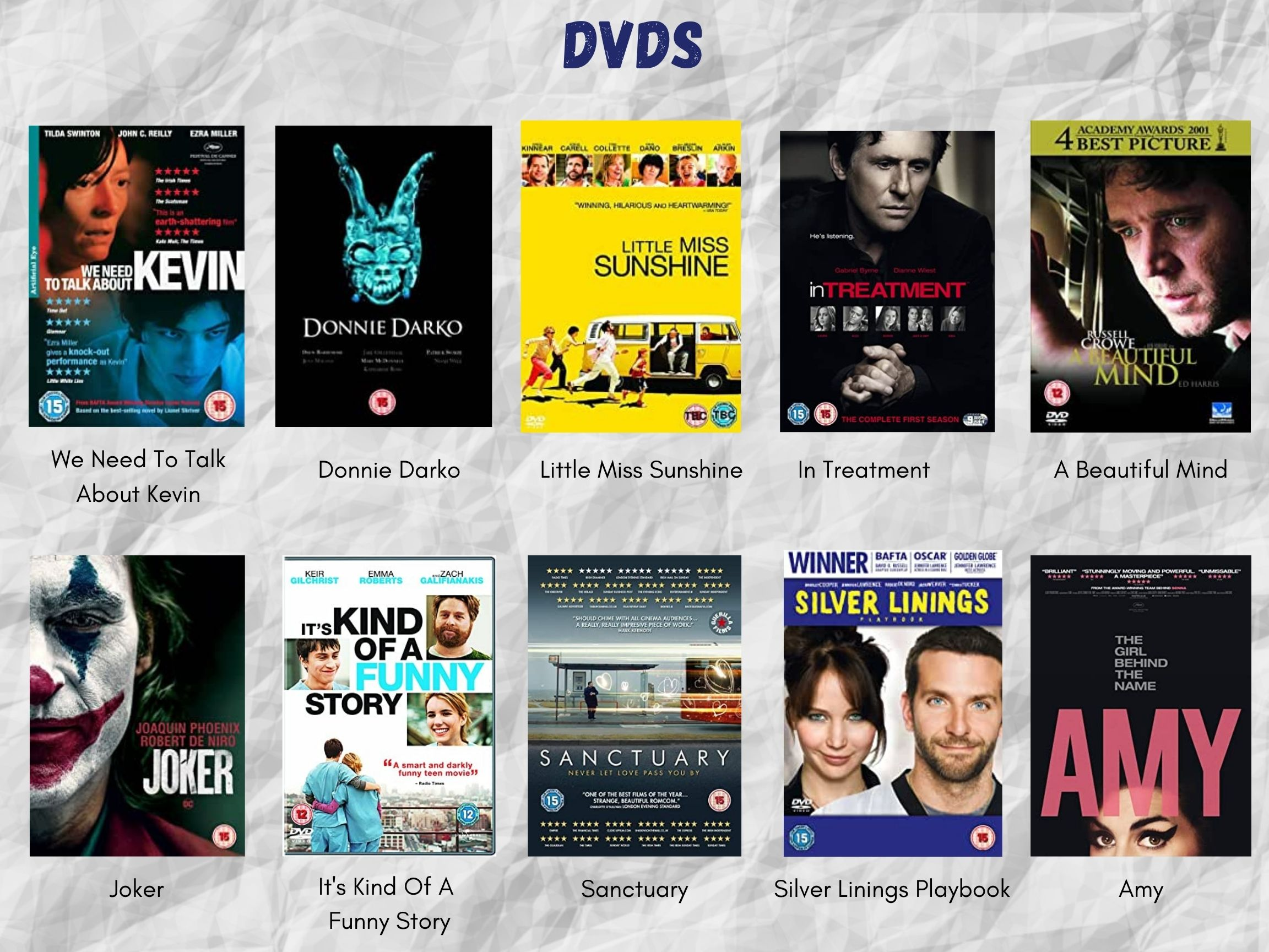 """White crumpled paper background. Text header reads, """"DVDS"""" in dark blue font. Two lines of five DVD covers, with their titles listed beneath. All of these titles are listed in the body text of this post below the images."""