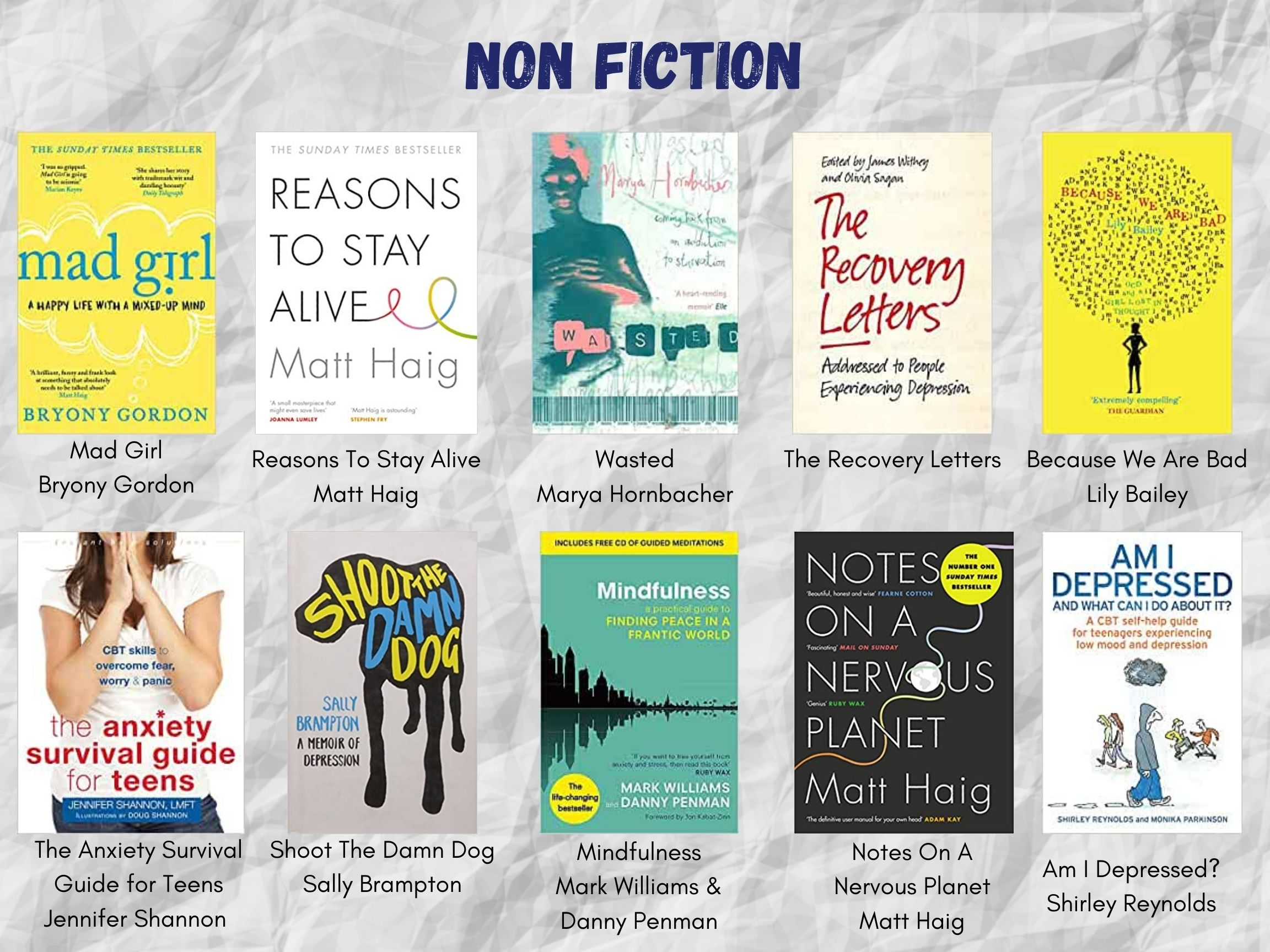 """White crumpled paper background. Text header reads, """"NON FICTION"""" in dark blue font. Two lines of five book covers, with their titles and authors listed beneath. All of these titles and authors are listed in the body text of this post below the images."""