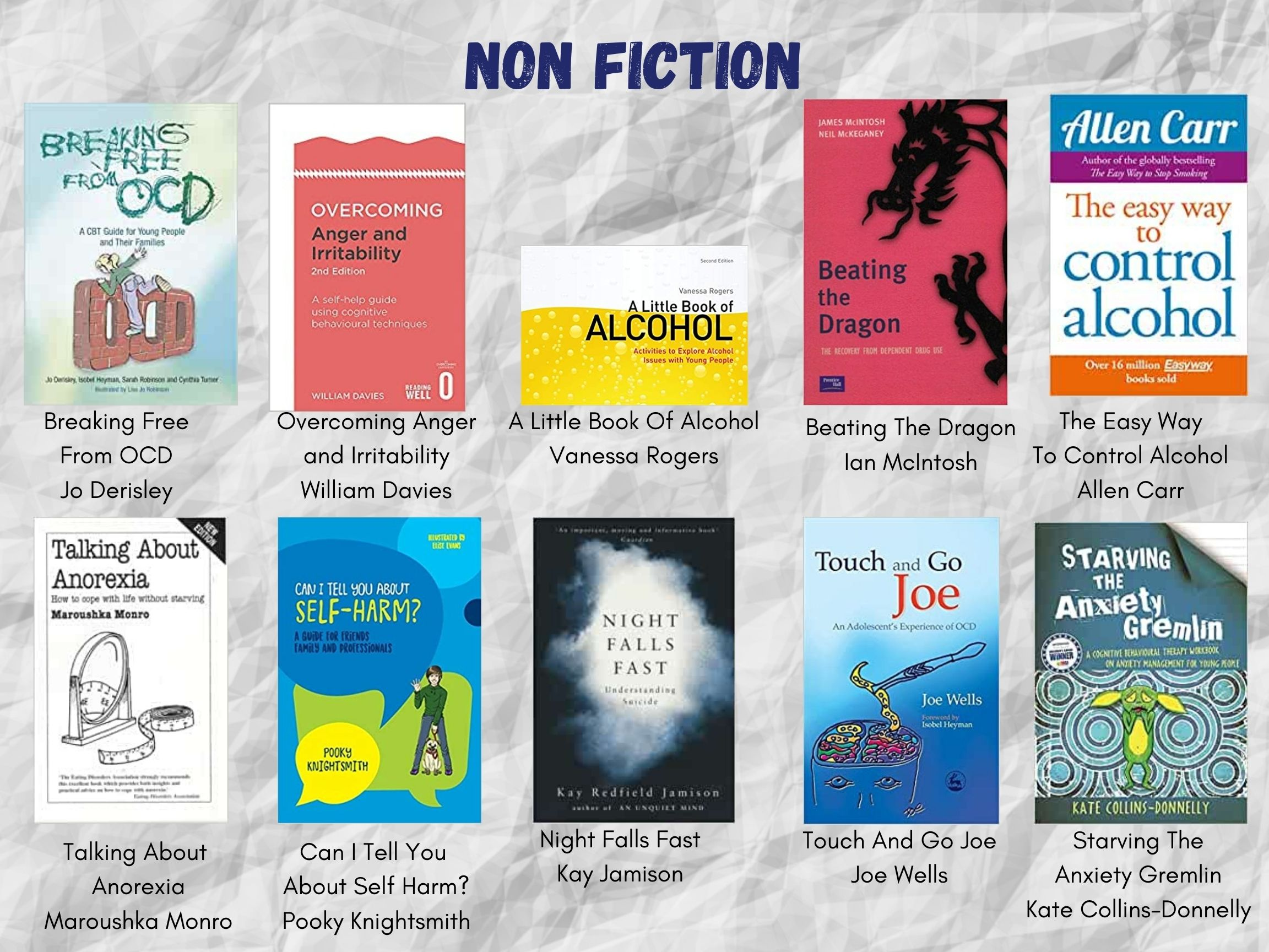 """White crumpled paper background. Text header reads, """"NON FICTION"""" in dark blue font. This is the second page of non-fiction titles. Two lines of five book covers, with their titles and authors listed beneath. All of these titles and authors are listed in the body text of this post below the images."""