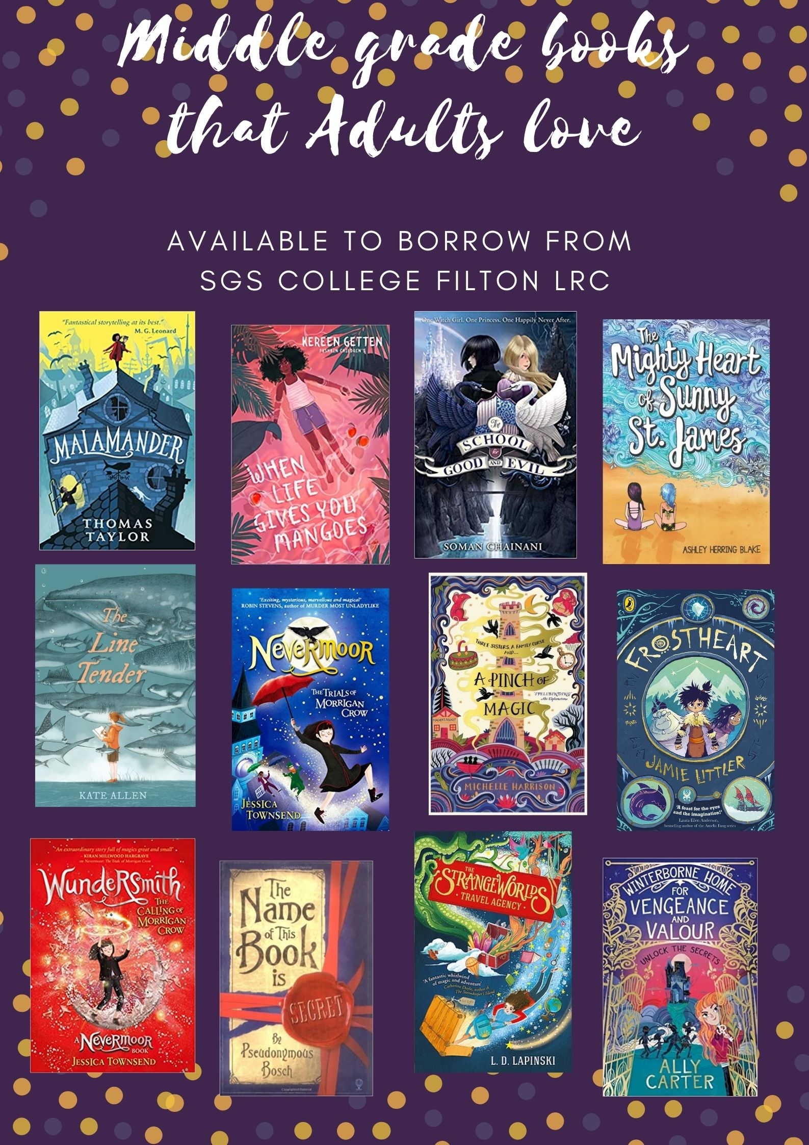 """Rectangular portrait poster with a deep, warm purple background, with orange and darker purple-ish grey circles decorating the top and bottom at random intervals. In white handwriting font, the main title reads """"Middle grade books that Adults love"""". Beneath in a sans serif font reads """"AVAILABLE TO BORROW FROM SGS COLLEGE LRC FILTON"""". Below are twelve images of book covers. The books displayed are listed in the blog post below."""