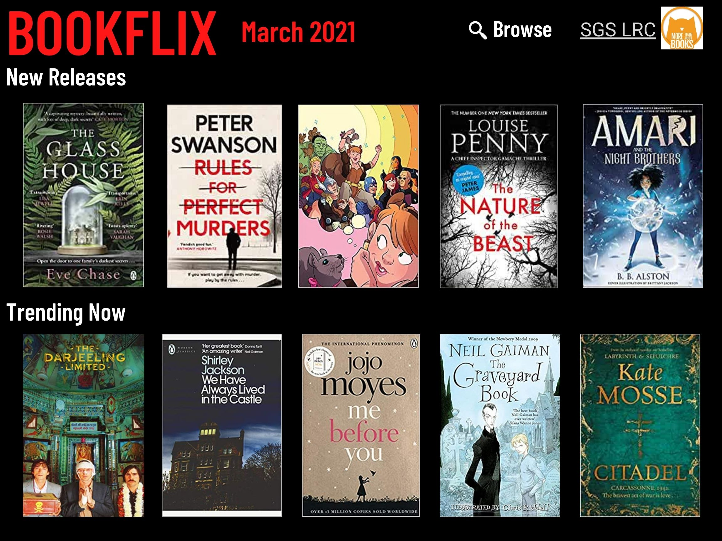 Bookflix page one. Text reads: Bookflix - March 2021. The page has 10 images of book/dvd covers. These are all listed in order in the body text below the images.