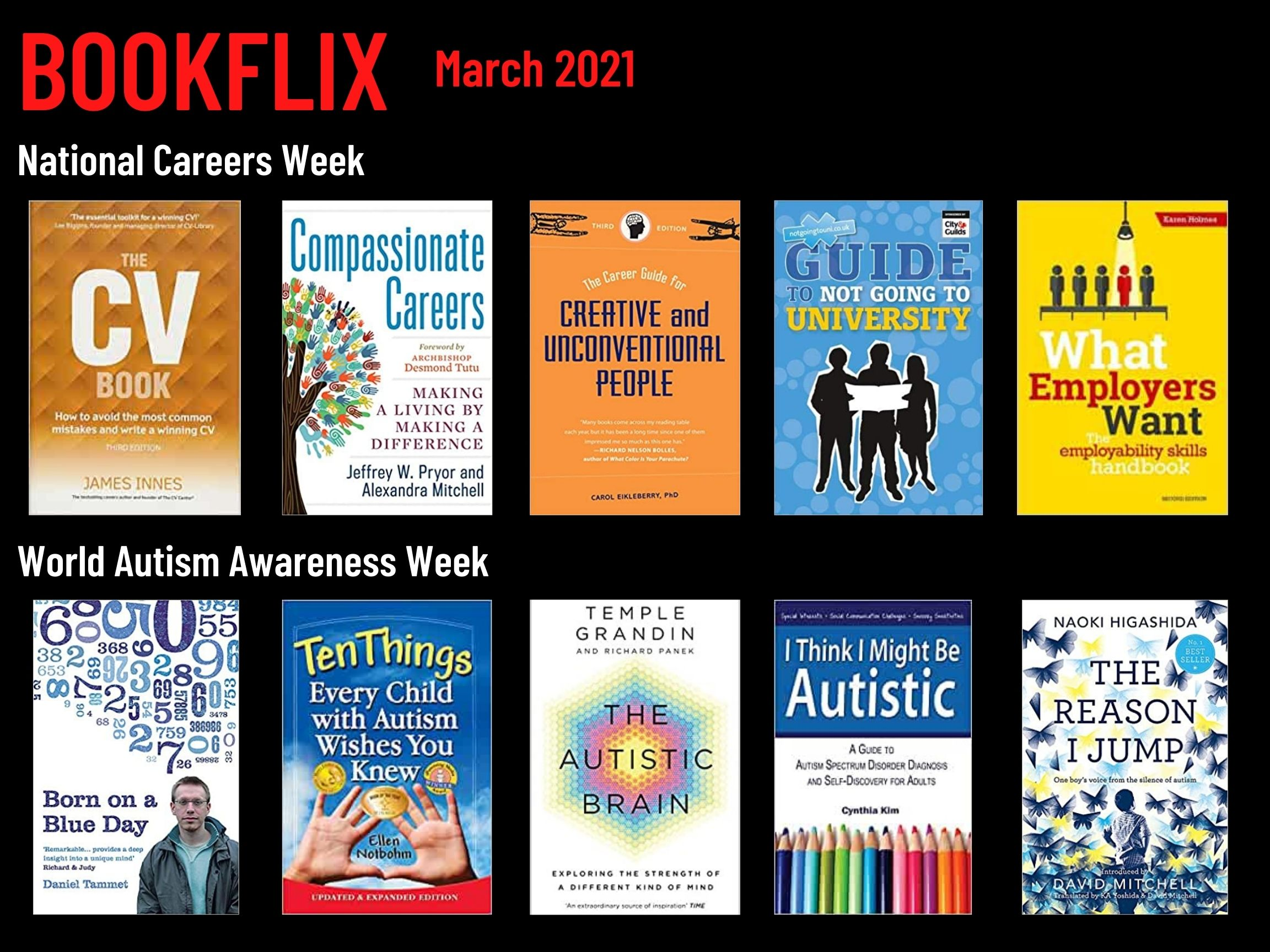 Bookflix page two. Text reads: Bookflix - March 2021. The page has 10 images of book/dvd covers. These are all listed in order in the body text below the images.