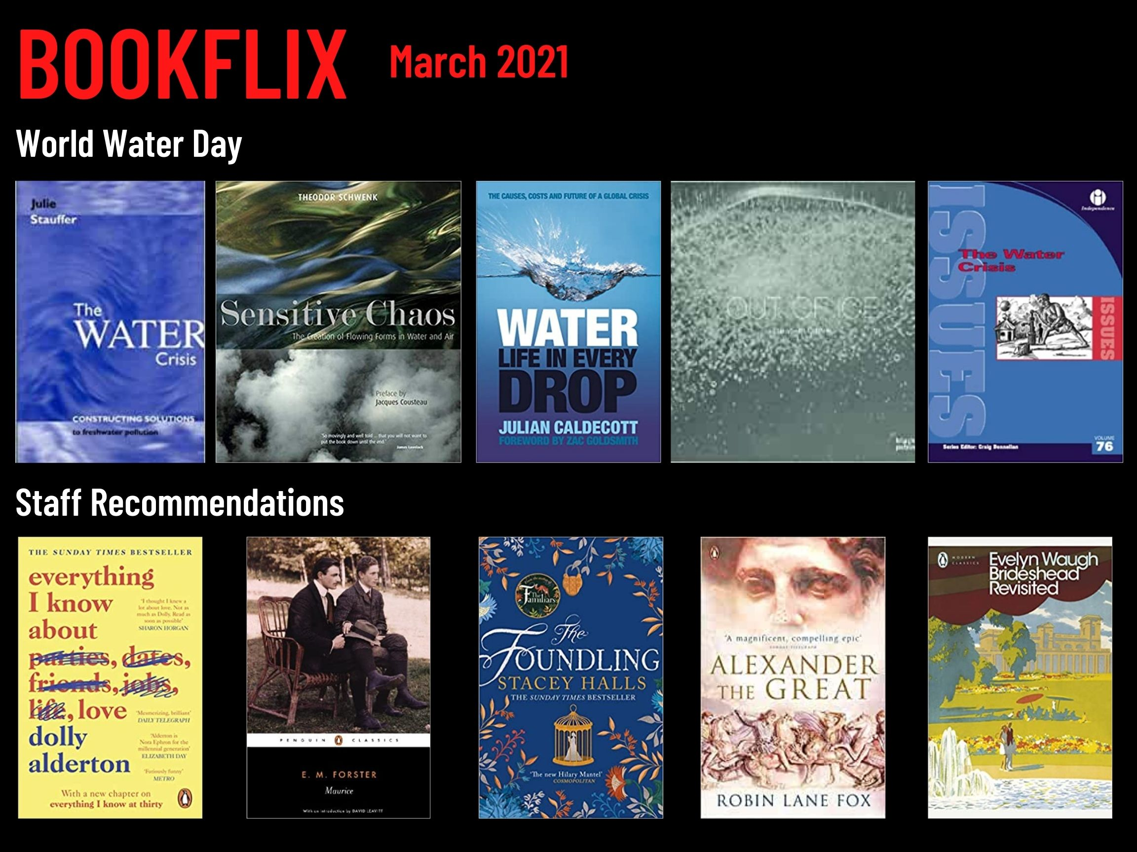 Bookflix page three. Text reads: Bookflix - March 2021. The page has 10 images of book/dvd covers. These are all listed in order in the body text below the images.