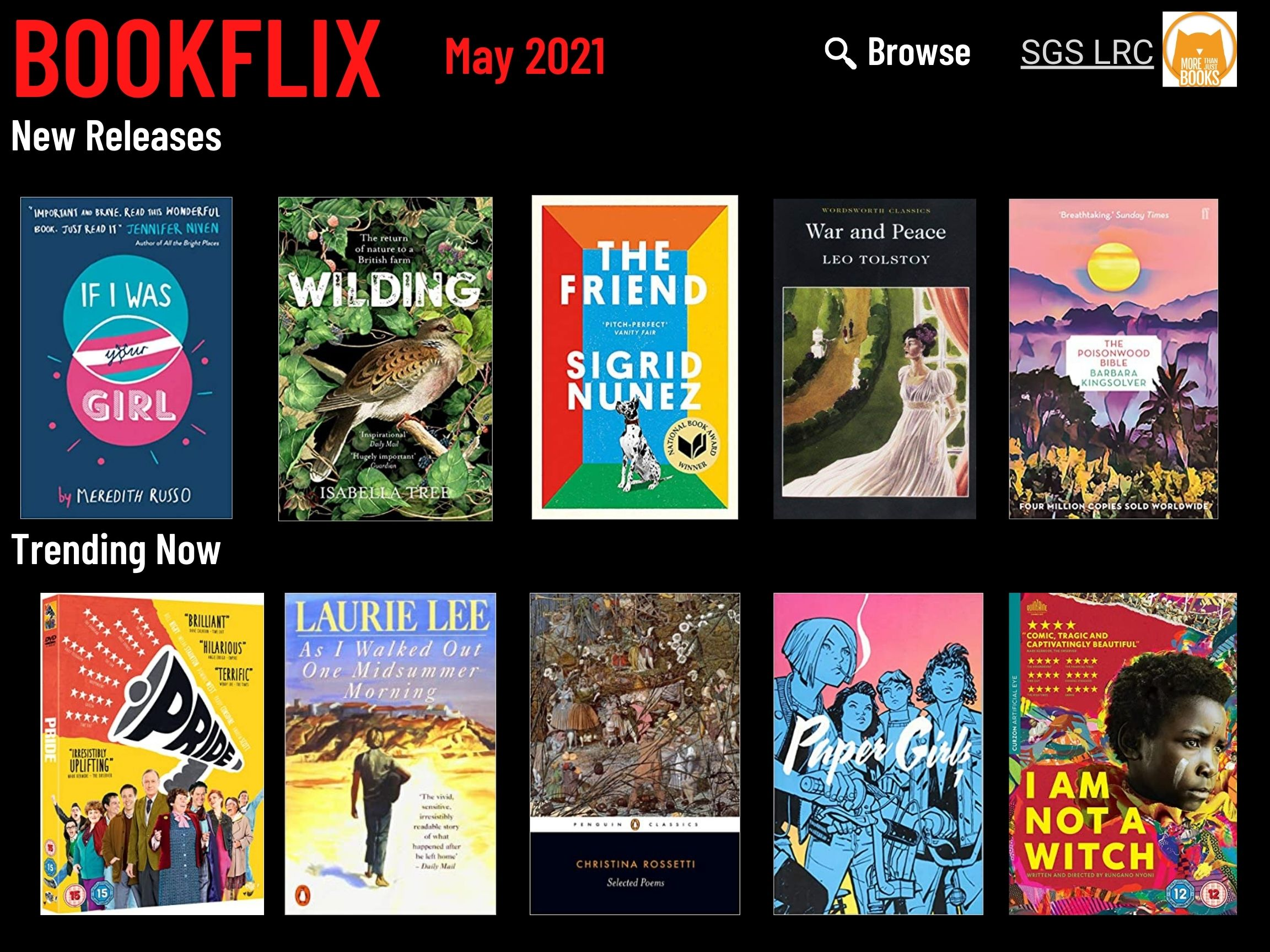 Bookflix page one. Text reads: Bookflix -May 2021. The page has 10 images of book/dvd covers. These are all listed in order in the body text below the images.