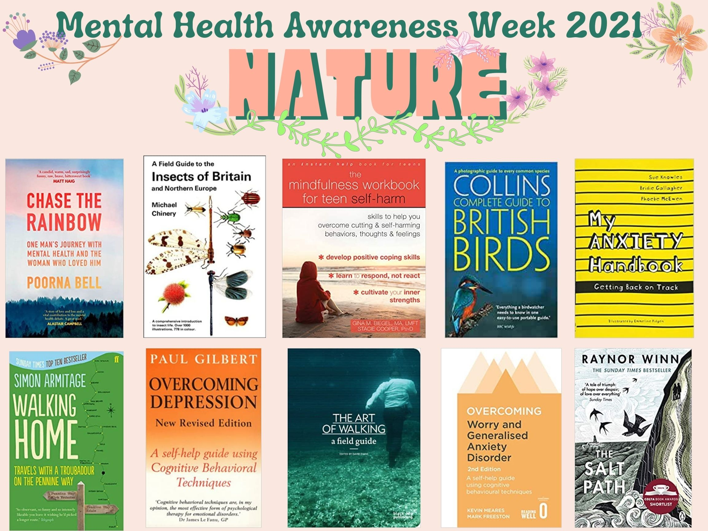 """Poster with 10 images of book/dvd covers.  Text reads, """"Mental Health Awareness Week 2021 / NATURE"""". Full list of titles pictured in blog post body below."""