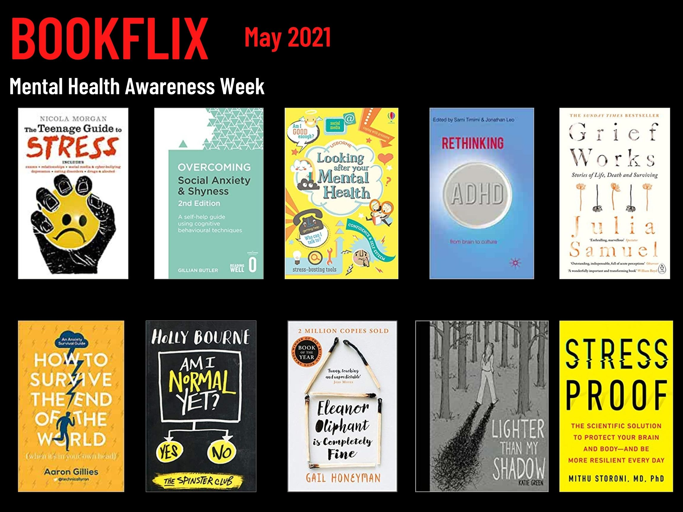 Bookflix page two. Text reads: Bookflix -May 2021. The page has 10 images of book/dvd covers. These are all listed in order in the body text below the images.