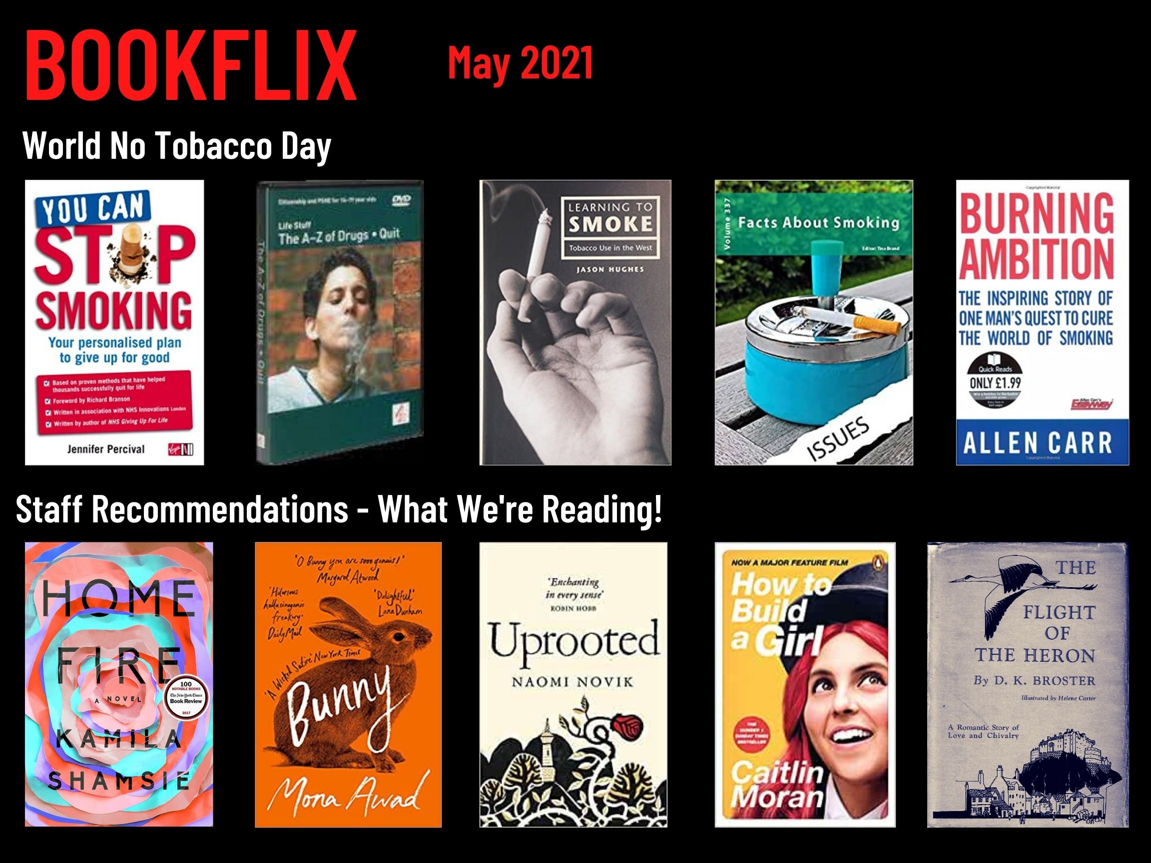 Bookflix page three. Text reads: Bookflix -May 2021. The page has 10 images of book/dvd covers. These are all listed in order in the body text below the images.