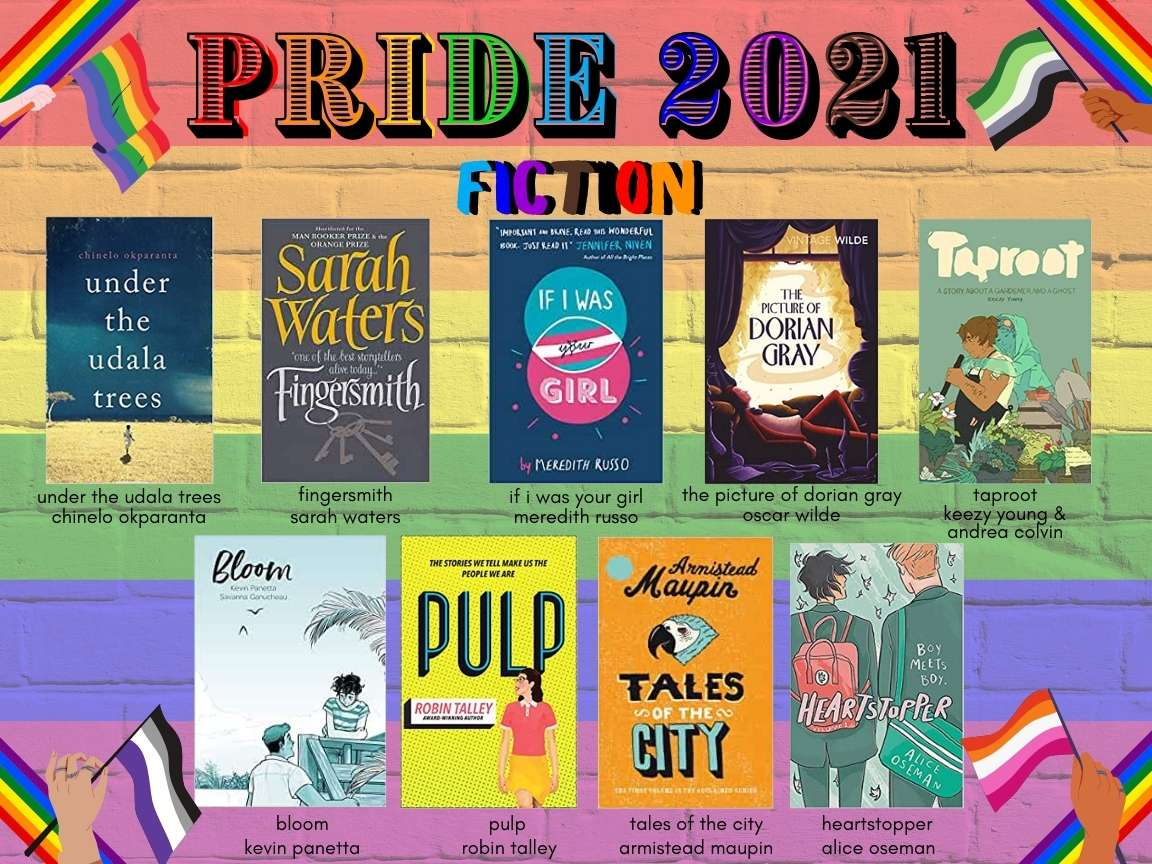 """Text reads """"PRIDE 2021 / fiction"""" in rainbow font. 9 images of book covers beneath, with titles and authors written beneath. All of this text information is reproduced in the body of the blog text below. The background is rainbow stripes painted on a brick wall. In each corner hands with various skin tones wave different LGBTQIA+ flags."""