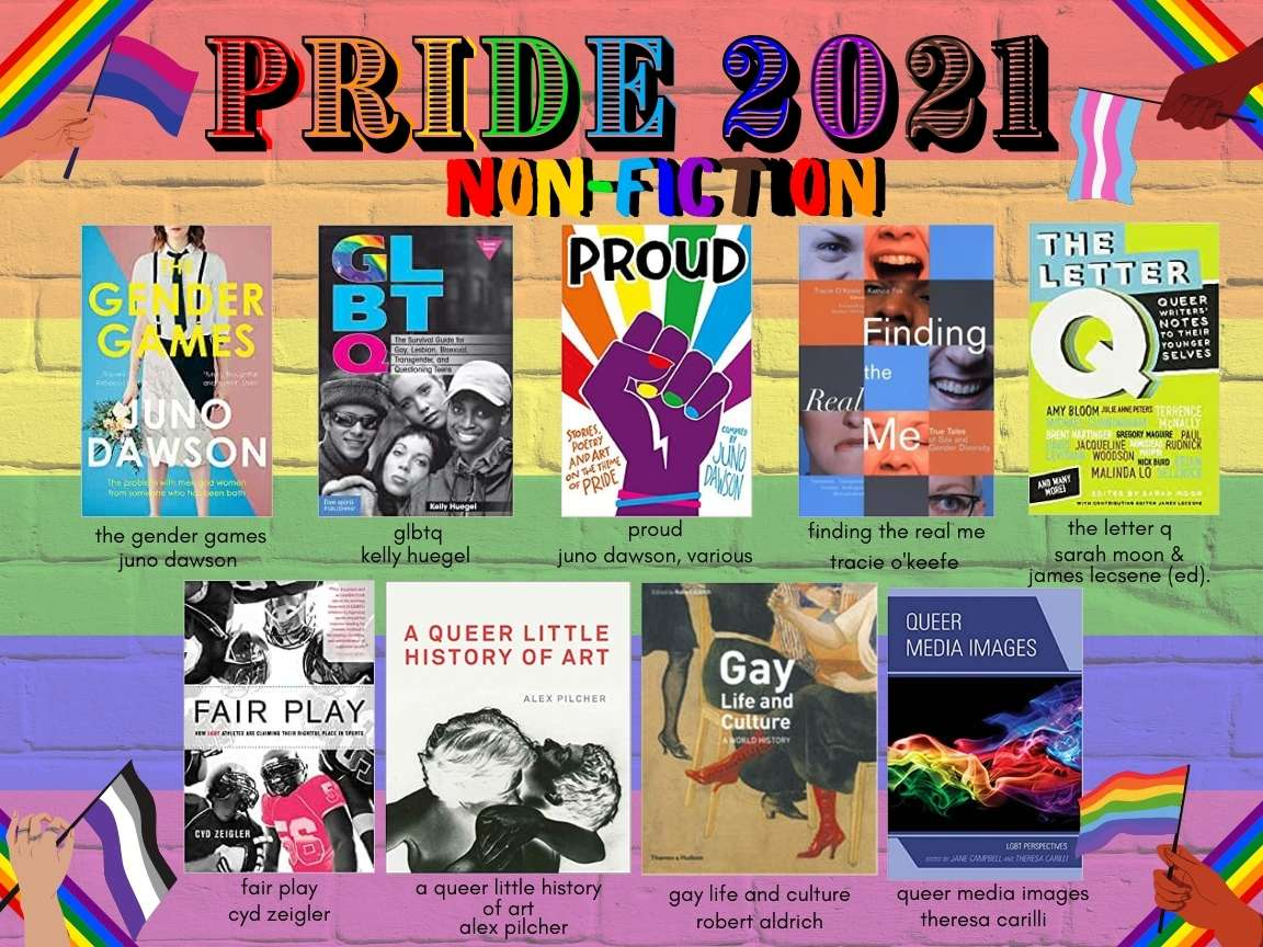 """Text reads """"PRIDE 2021 / non-fiction"""" in rainbow font. 9 images of book covers beneath, with titles and authors written beneath. All of this text information is reproduced in the body of the blog text below. The background is rainbow stripes painted on a brick wall. In each corner hands with various skin tones wave different LGBTQIA+ flags."""