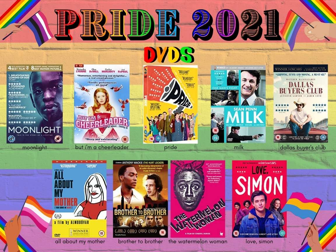 """Text reads """"PRIDE 2021 / DVDs"""" in rainbow font. 9 images of DVD covers beneath, with titles and authors written beneath. All of this text information is reproduced in the body of the blog text below. The background is rainbow stripes painted on a brick wall. In each corner hands with various skin tones wave different LGBTQIA+ flags."""