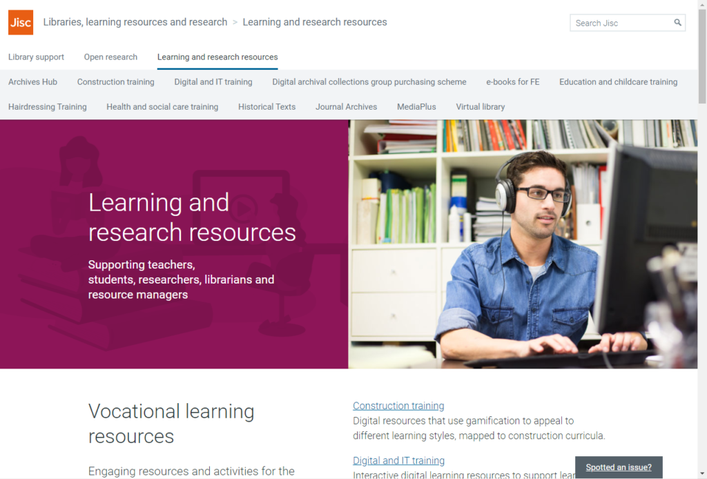 screenshot of the webpage: https://www.jisc.ac.uk/learning-and-research-resources